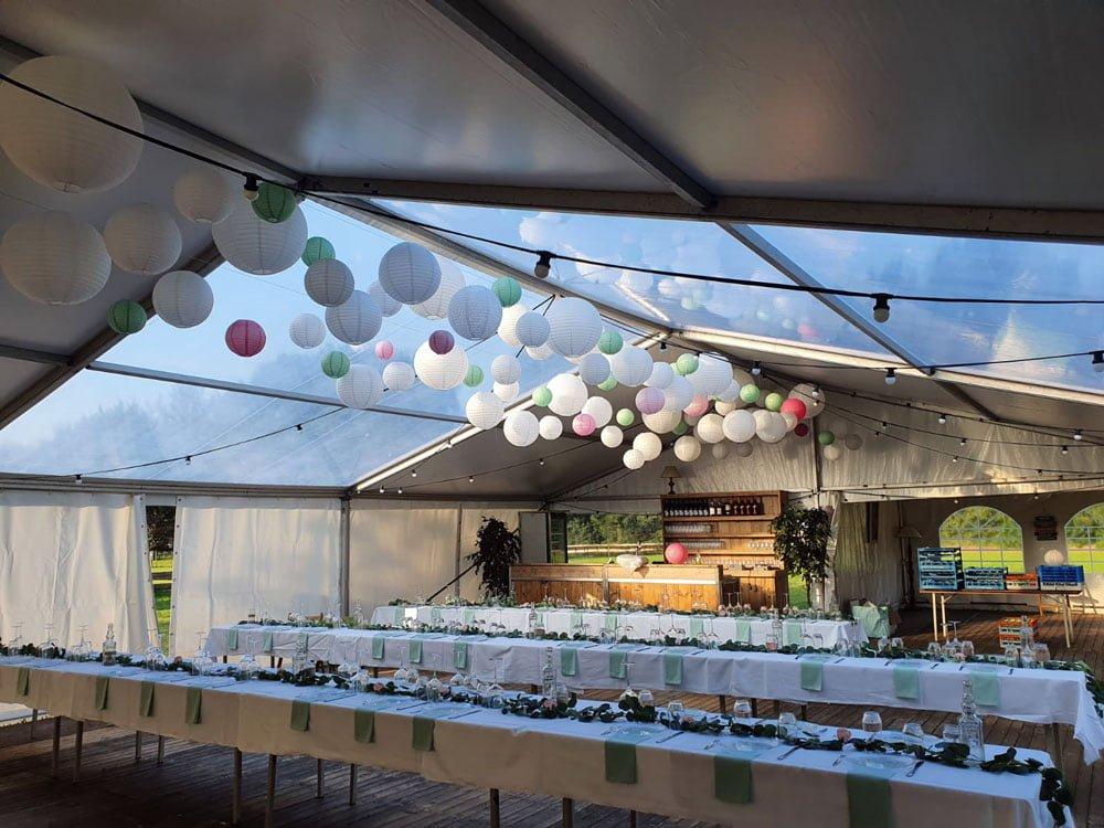 Bruiloft tent Hulshorst aluhal transparant dak en wanden